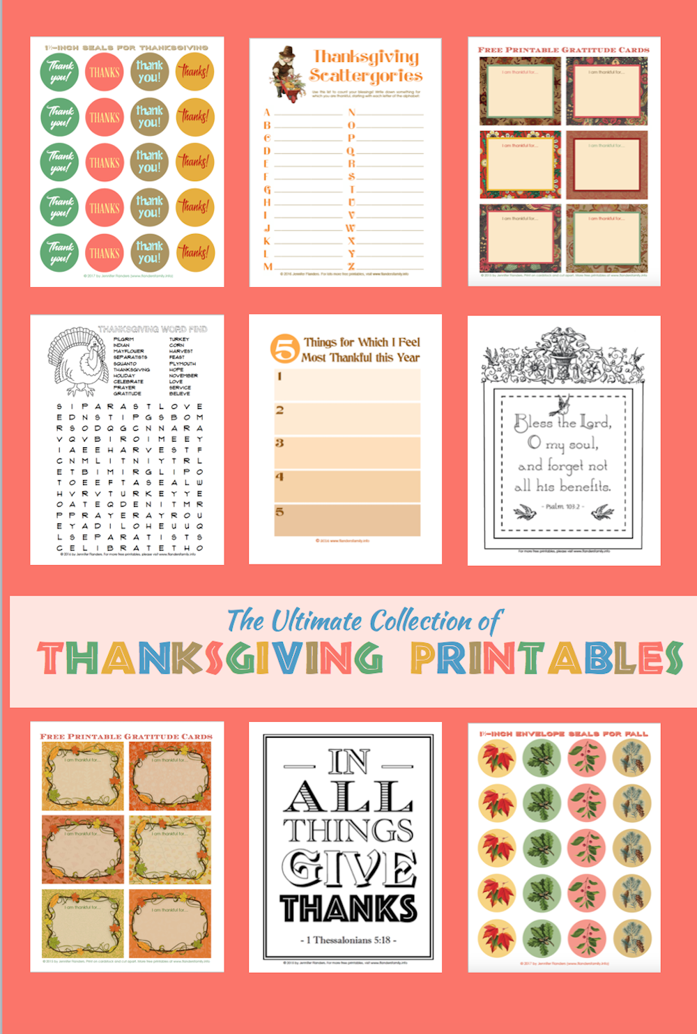 The Ultimate Collection of Thanksgiving Printables